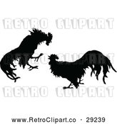 Vector Clip Art of Retro Silhouetted Cock Fight by Prawny Vintage