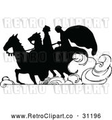 May 4th, 2018: Vector Clip Art of Retro Silhouetted Couple Riding Horses by Prawny Vintage