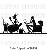 Vector Clip Art of Retro Silhouetted Couple Sitting by Prawny Vintage