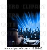 Vector Clip Art of Retro Silhouetted Dancers and a Dj Mixing a Record at a Club by Dero