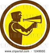Vector Clip Art of Retro Silhouetted Director Using a Bullhorn in a Brown and Yellow Circle by Patrimonio