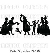 Vector Clip Art of Retro Silhouetted Dog and People by Prawny Vintage