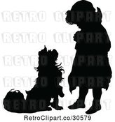 Vector Clip Art of Retro Silhouetted Dog Begging to a Girl by Prawny Vintage