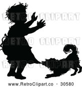 Vector Clip Art of Retro Silhouetted Dog Biting a Girls Dress by Prawny Vintage