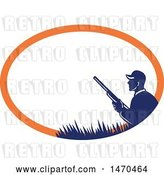 Vector Clip Art of Retro Silhouetted Duck Hunter Holding a Shotgun in a Blue and Orange Oval by Patrimonio