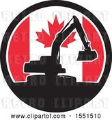 Vector Clip Art of Retro Silhouetted Excavator Machine in a Canadian Flag Circle by Patrimonio
