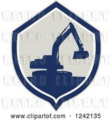 Vector Clip Art of Retro Silhouetted Excavator Machine in a Shield by Patrimonio