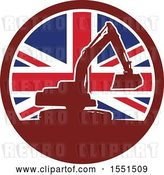 Vector Clip Art of Retro Silhouetted Excavator Machine in a Union Jack Flag Circle by Patrimonio