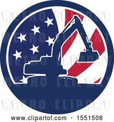 Vector Clip Art of Retro Silhouetted Excavator Machine in an American Flag Circle by Patrimonio