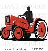 Vector Clip Art of Retro Silhouetted Farmer on a Tractor by Patrimonio