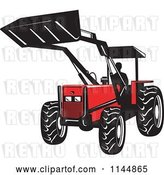 Vector Clip Art of Retro Silhouetted Farmer Operating a Loader Tractor by Patrimonio