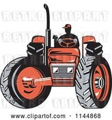 Vector Clip Art of Retro Silhouetted Farmer Operating a Red Tractor 1 by Patrimonio