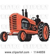 Vector Clip Art of Retro Silhouetted Farmer Operating a Red Tractor 2 by Patrimonio