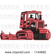 Vector Clip Art of Retro Silhouetted Farmer Operating a Steel Track Tractor by Patrimonio