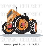 Vector Clip Art of Retro Silhouetted Farmer Operating an Orange Tractor by Patrimonio