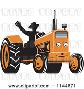 Vector Clip Art of Retro Silhouetted Farmer Waving and Operating an Orange Tractor by Patrimonio