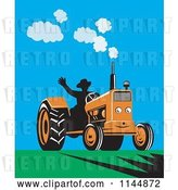 Vector Clip Art of Retro Silhouetted Farmer Waving and Operating an Orange Tractor on a Field by Patrimonio