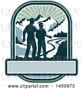 Vector Clip Art of Retro Silhouetted Father and Son with a View of a River and Mountains over a Banner by Patrimonio