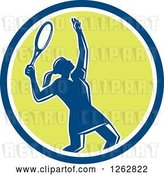 Vector Clip Art of Retro Silhouetted Female Tennis Player Serving Inside a Blue White and Green Circle by Patrimonio