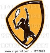 Vector Clip Art of Retro Silhouetted Female Tennis Player Serving Inside an Orange Shield by Patrimonio