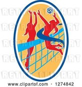 August 14th, 2018: Vector Clip Art of Retro Silhouetted Female Volleyball Player Blocking an Opponents Spike in a Blue White and Yellow Oval by Patrimonio