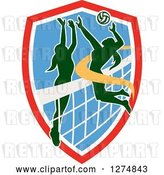 Vector Clip Art of Retro Silhouetted Female Volleyball Player Blocking an Opponents Spike in a Red White and Blue Shield by Patrimonio
