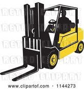 Vector Clip Art of Retro Silhouetted Forklift Operator by Patrimonio