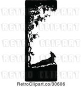 Vector Clip Art of Retro Silhouetted Fox and Tree Border by Prawny Vintage