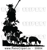 Vector Clip Art of Retro Silhouetted Fox in Shepherd Clothing and Sheep by Prawny Vintage