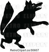 Vector Clip Art of Retro Silhouetted Fox Jumping by Prawny Vintage