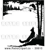 Vector Clip Art of Retro Silhouetted Fox Looking up at a Crow in a Tree by Prawny Vintage
