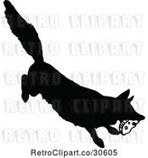Vector Clip Art of Retro Silhouetted Fox Stealing Food by Prawny Vintage