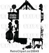 Vector Clip Art of Retro Silhouetted Girl and Mother Page Border by Prawny Vintage