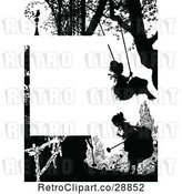 Vector Clip Art of Retro Silhouetted Girl Swinging Page Border by Prawny Vintage
