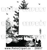 Vector Clip Art of Retro Silhouetted Girl Tree and Birds Page Border by Prawny Vintage