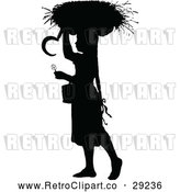 Vector Clip Art of Retro Silhouetted Girl with a Basket on Her Head by Prawny Vintage