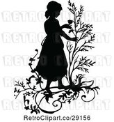Vector Clip Art of Retro Silhouetted Girl with Branches by Prawny Vintage