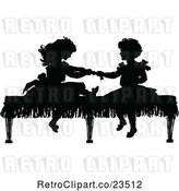 Vector Clip Art of Retro Silhouetted Girls Playing on a Bench by Prawny Vintage