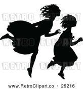 Vector Clip Art of Retro Silhouetted Girls Running by Prawny Vintage