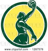 Vector Clip Art of Retro Silhouetted Green Basketball Player Doing a Layup in a Green White and Yellow Circle by Patrimonio
