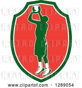 Vector Clip Art of Retro Silhouetted Green Basketball Player Jumping and Shooting in a Green White and Red Shield by Patrimonio