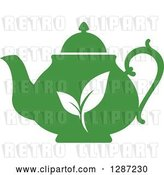 Vector Clip Art of Retro Silhouetted Green Tea Pot with White Leaves by Vector Tradition SM