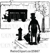 Vector Clip Art of Retro Silhouetted Guy and Moving Van by Prawny Vintage