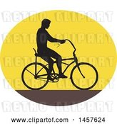 Vector Clip Art of Retro Silhouetted Guy Riding an Easy Rider Bicycle in an Oval by Patrimonio