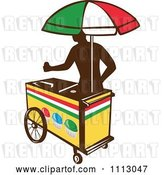 Vector Clip Art of Retro Silhouetted Ice Push Cart Vendor with an Italian Umbrella by Patrimonio
