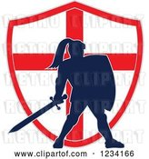 Vector Clip Art of Retro Silhouetted Knight in Full Armor over an English Flag Shield by Patrimonio