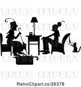 Vector Clip Art of Retro Silhouetted Ladies Talking by Prawny Vintage