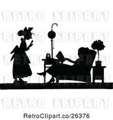Vector Clip Art of Retro Silhouetted Lady and Maid by Prawny Vintage