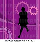 Vector Clip Art of Retro Silhouetted Lady on a Purple Background by Dero