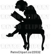 Vector Clip Art of Retro Silhouetted Lady Reading by Prawny Vintage